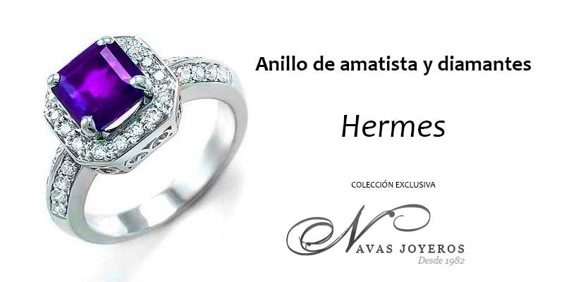 anillo con amatista y diamantes