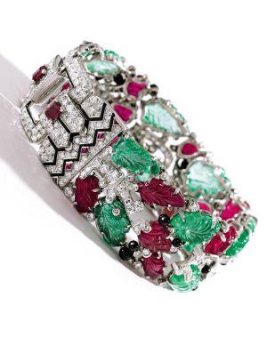 pulsera de diamantes y piedras preciosas