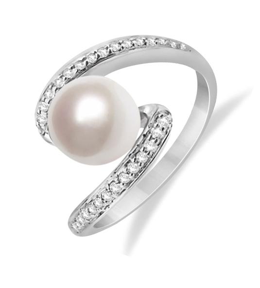 Anillo con perla y diamantes SILOS