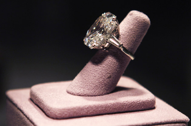 A 33.19 carats diamond ring given to Taylor by her fifth husband Burton is pictured at the press preview for Christie's auction in Los Angeles