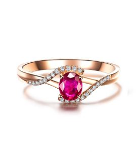 ADEN, Sortija de rubí y diamantes