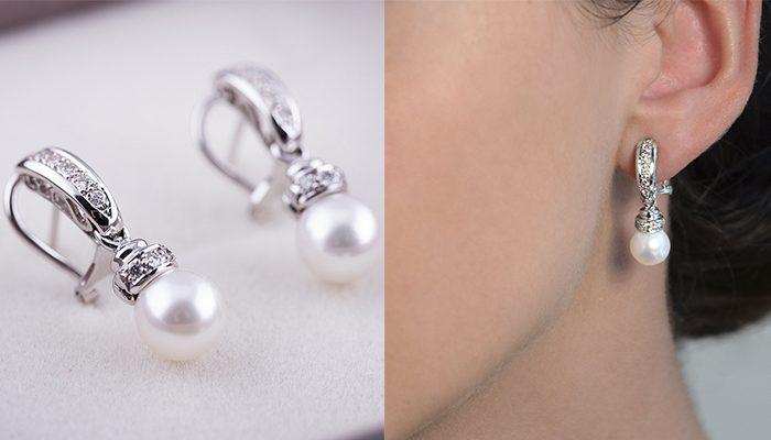 pendiente de perla en oreja